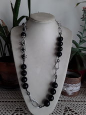 Collana perle di ceramica nere