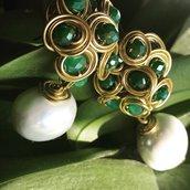 Orecchini malu' con perla e cristalli