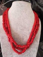 Collana 3 fili corallo bamboo uncinetto rosso pietre dure