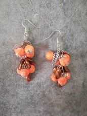 Orecchini pendenti donna arancione e bronzo
