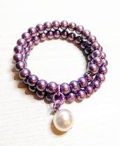 Bracciale a tre fili color viola/lilla perlato