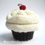 Cappello cupcake cioccolato/panna - berretto bambina/neonata - lana merino - fatto a mano