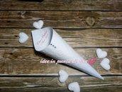 Lotto 100 coni bianchi porta riso, confetti, confettata, montati 23 disegni a scelta + stampa inclusa con strass