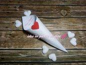 100 coni avorio porta riso, confetti, confettata, montati 23 disegni a scelta + stampa inclusa con cuore colorato