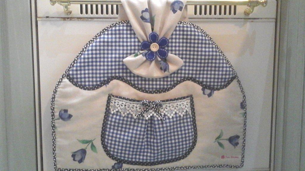 Copriforno per forno con maniglia piccola,  floral blue
