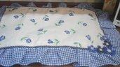 Copri fornelli maxi, floral blue