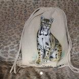 Sacca in cotone con leopardo dipinto a mano 🐆