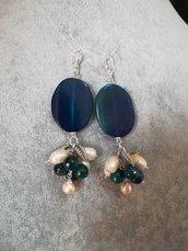 Orecchini pendenti cabochon agata blu perle di fiume monachella placcato argento ciondoli