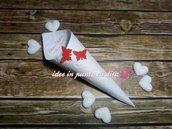 100 coni bianchi  porta riso, confetti, confettata, montati 23 disegni a scelta + stampa inclusa +doppia farfalla colorata