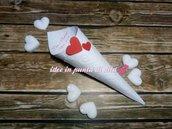 Lotto 100 coni bianchi porta riso, confetti, confettata, montati 23 disegni a scelta + stampa inclusa+doppio cuore in cartoncino