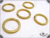 Anelli portachiavi a filo piatto in acciaio, colore oro, 5 pezzi