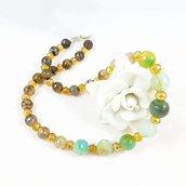 Collana agata, cristalli,verde, giallo, nero, design originale, pezzo unico, idea regalo, festa della mamma, Natale, compleanno, elegante.