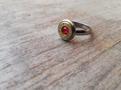 Anello cal 9 con cristallo rosso