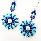 Orecchini perle, turchesi, blu, pezzo unico, modello originale, tessitura di perline, swarovski, idea regalo, nichel free, compleanno, Natale,