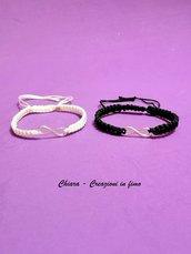 2 Bracciali simbolo infinito bianco e nero, regalo san Valentino per coppia, bracciale uomo, bracciale donna