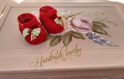 Scarpine neonata - fatte a mano - cotone -uncinetto