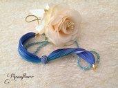Bracciale di seta viola e azzurro, bracciale boho di rosunflower, bracciale donna a fascia