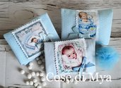 Bomboniere nascita/battesimo. Bustine portaconfetti in cotone