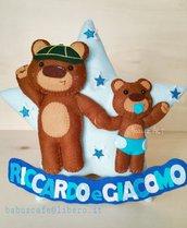 fiocco nascita, fiocco nascita personalizzato, orsetti, neonato, orso, regalo fratelli, fratellini, regalo nascita, addobbo cameretta, scout