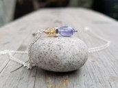 Pendente Quarzo Citrino Tanzanite e Argento. Ciondolo pietra. Piccolo pendente pietra e argento, idea regalo per lei, regali di laurea
