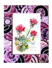 Cornice Porta Foto 13x18 cm decorata in Mosaico sulle tonalità del Rosa e Nero con texture Circolare