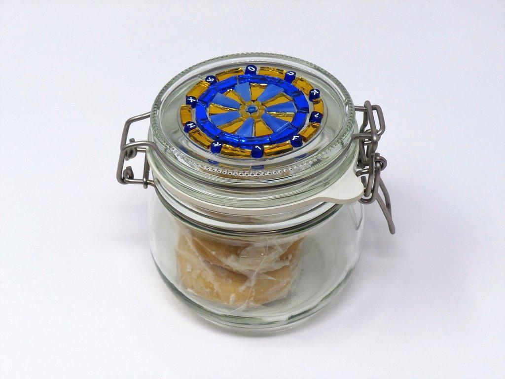 Barattolo in Vetro con tappo decorato in Mosaico sulle tonalità del Blu e Oro