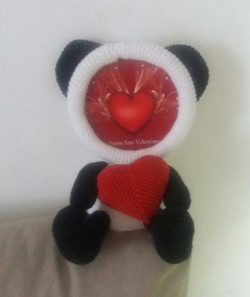 Portafoto panda all' uncinetto