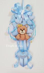 Fiocco nascita orsetto con cuori in pannolenci