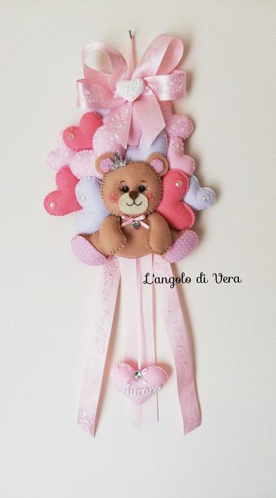 Fiocco nascita orsetto rosa con cuori in pannolenci