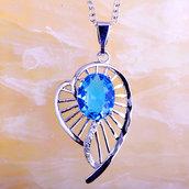 Collana donna con ciondolo cuore e vero topazio azzurro pietra dura naturale chakra cristalloterapia