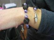 Braccialetto spirale colori lilla ed argento