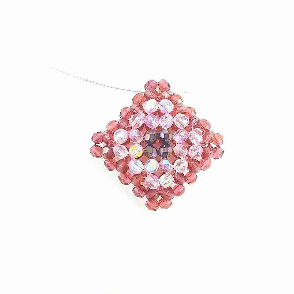 Ciondolo cristallo rosso, rosa, perline, acciaio, arte del gioiello, fatto a mano, pezzo unico, idea regalo, Natale, compleanno, festa della mamma.