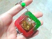 Portachiavi Shaker // Verde e Rosso con Gatto e Glitter // Fatto a Mano ❤