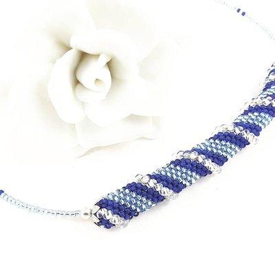 Girocollo blu, argento, perline, spirale cellini,pezzo unico,ooak,modello originale, idea regalo, compleanno, natale, festa della mamma