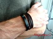 Bracciale da UOMO in cuoio marrone 4 giri cuoio, polsino in pelle | bracciale a fascia