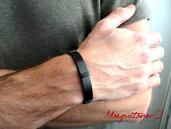 Bracciale da UOMO in cuoio nero e cordini in cotone | bracciale a fascia semplice