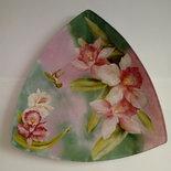 Svuota tasche a decoupage con orchidee e sfondo pittorico