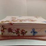 Scatola portagioie o spezie o bustine per tisane  con effetto marmo rosa e decoupage