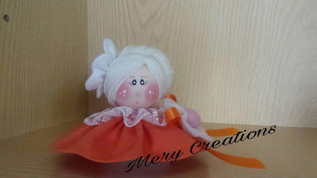 Bambola profumata, fiore, fiocco, arredamento, idea regalo, casa, bomboniere