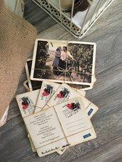 Partecipazione cartolina vintage foto mod. CARTOLINA