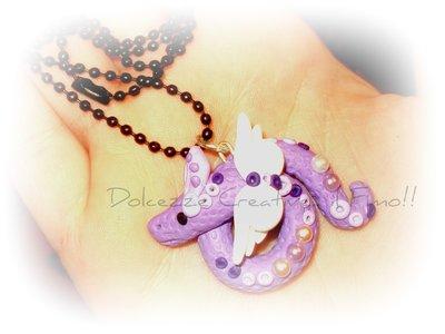 ★★SALDI Dragone viola in fimo e cernit :)