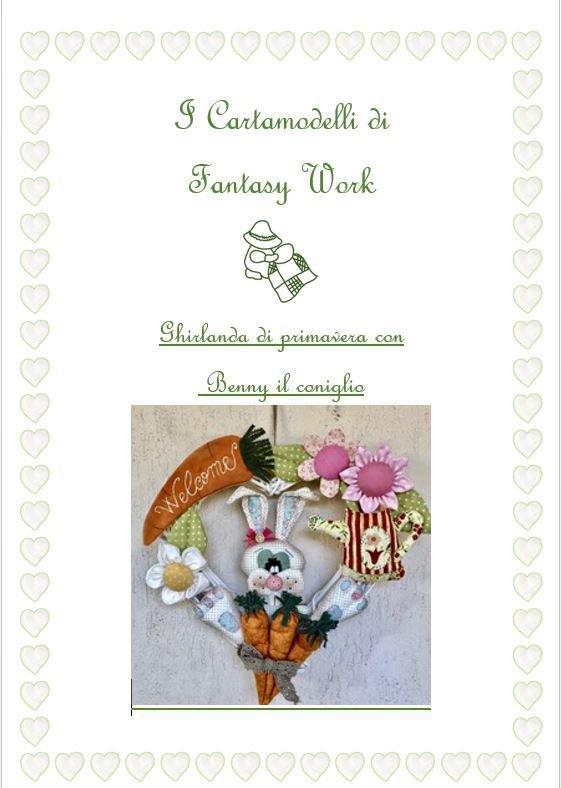 Cartamodello Ghirlanda di primavera con Benny il coniglio - versione PDF