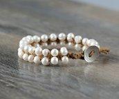 Bracciale  regolabile intrecciato a mano con perle di fiume coltivate