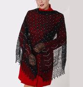 Incredibile scialle nero con ricamo, sciarpa, Openwork, lana di capra, scialle, fatto a mano, lana, scialle nero, scialle traforato, scialle lavorato a maglia, scialle di piume