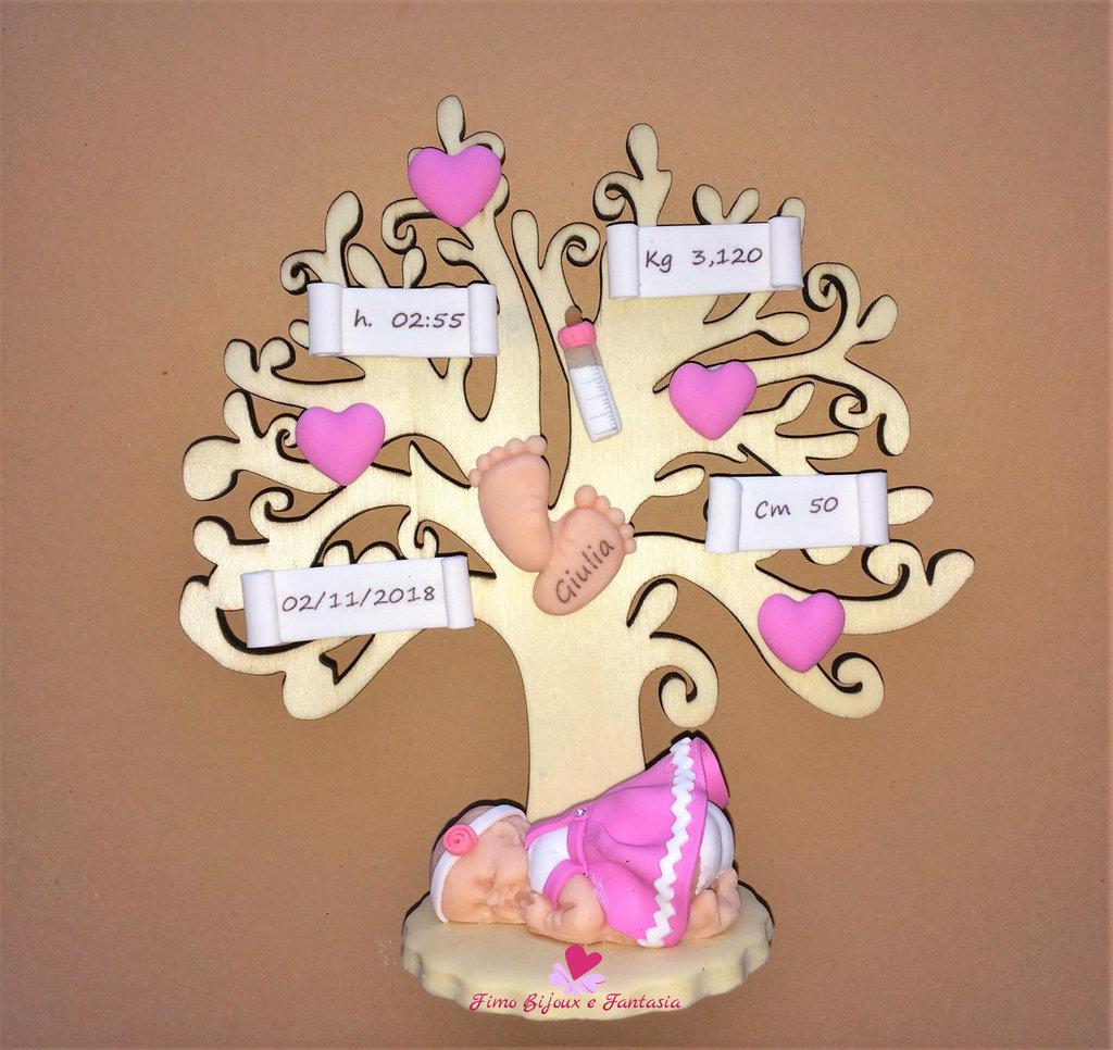 Albero della vita nascita decorato con elementi in fimo. Idea regalo.