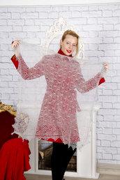scialle, lana di capra, scialle grigio, mantellina caldo, scialle caldo, openwork