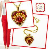 Collana con ciondolo a cuore rosso e oro Isabella