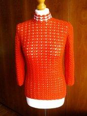 Maglione lana uncinetto colore rosso  taglia S