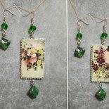 Orecchini pendenti asimmetrici double face decoupage gioielli donna fiori carta