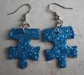 Orecchini Glitter Puzzle (turchese)